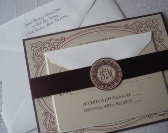 Elegant Wedding Invitation with Monogram Seal and Satin Ribbon Belly Band