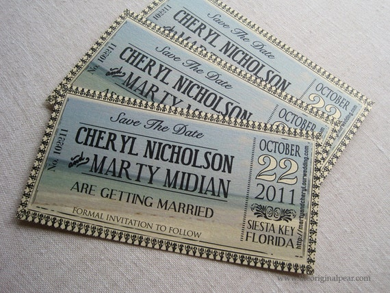 Wedding by the Water Vintage Ticket Save The Date