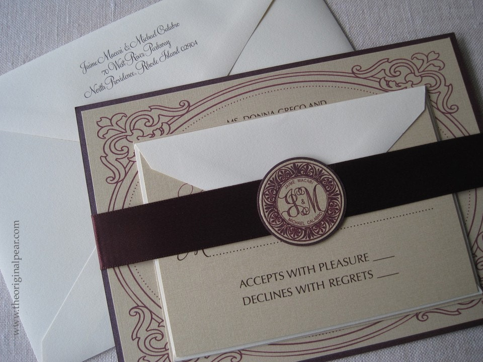 Elegant Wedding Invitation with Monogram Seal and Satin Ribbon – Wedding Invitation Monograms