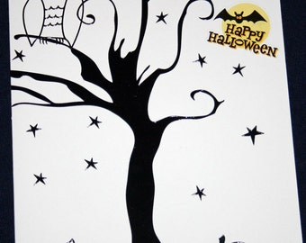 Happy Halloween Owl in Tree Card