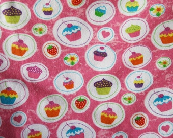 Pink Cupcakes and Hearts Flannel Pillowcase