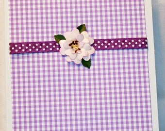 Purple with Pink Flower All Occasion Card