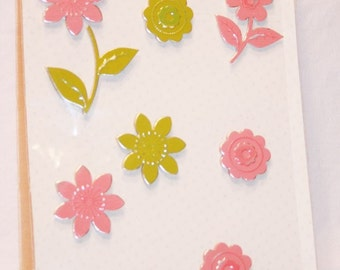 11 Pink and Lime Green Flutter Metal Flowers with Self-Adhesive from Making Memories