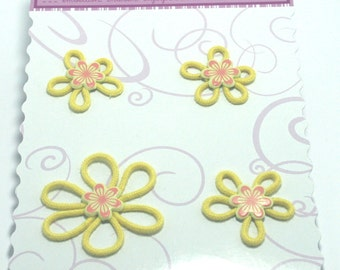 4 Yellow Groovy Petal Flowers from Creative Charms
