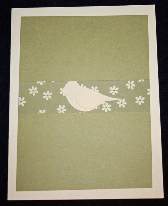 Sage with Cream Bird All Occasion Card