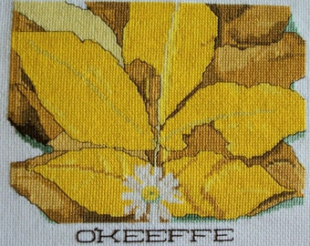 Beautiful Georgia O'Keeffe Completed Finished Cross Stitch Still Life