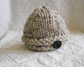 S A L E  Saturday O N L Y  NEW Item, Super Soft Chunky Lambs Wool  Button Hat, Blue, Available size NB- 0-6 months, Great Gift for 5 USD,  Adorable Photo Prop