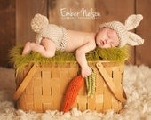 Bunny Hat, Newborn Baby, 0-3 Months Photo Prop Set, Easter Rabbit, Chunky Wool Infant Hat, Diaper Cover - CARROT included, U Choose Color