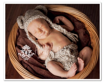 Hand Knit Baby Hat, Newborn Photo Prop, Bear Set, Chunky Ear Flap Beanie & Infant Diaper Cover in Oatmeal