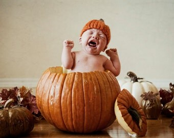 Pumpkin Hat, Knit Baby Cap Knitted Newborn Infant Fall Photo Prop, Halloween, Autumn, Jack o lantern, Orange, Crochet, Toddler, Children