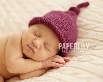 Baby Knot Hat, Knit Newborn, Hand Knitted Infant Cap, Fall Plum Tie Hat, Pick Your Colors, Luxury Yarn, OOAK Photo Prop