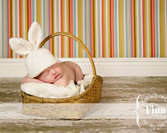 Knit Baby Bunny Hat, Hand Knitted, Easter Rabbit, Newborn Infant Photo Prop, White, Custom Colors, All Sizes Avail.