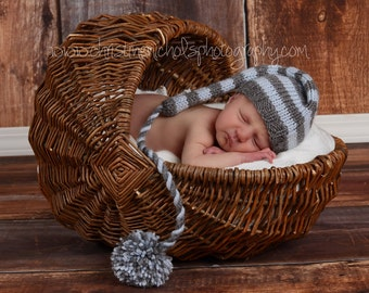 Knit Baby Hat, Stocking Elf Newborn, Knitted Infant Photo Prop, Blue, Gray, All Sizes, U choose color & tail, Munchkin Pixie Beanie.