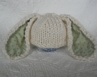 Easter Bunny Rabbit Hat, Newborn Knit Photo Props, Baby Infant, Cream, Chunky Wool Infant Cap - Floppy, Lop Eared, U Choose Ear Lining Color