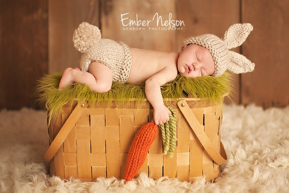 Custom Listing for Rachelle, 0-3 month Baby Bunny Hat, Photo Prop Set,Chunky Wool Infant Hat,Diaper Cover - CARROT included