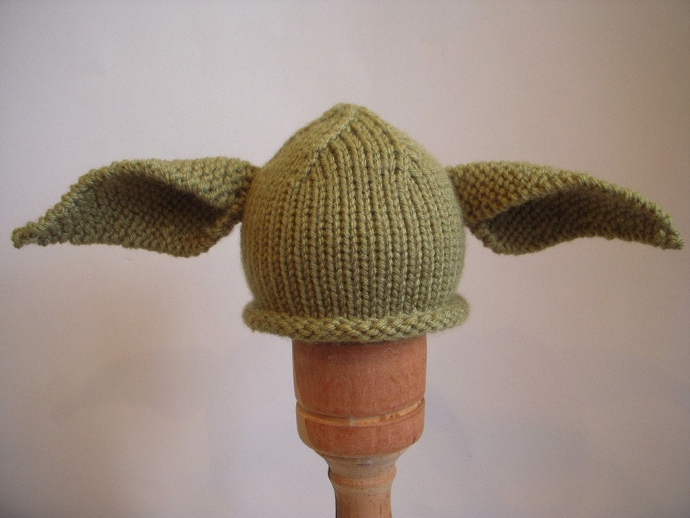 Knitting Pattern For Baby Yoda Hat : Yoda Inspired Hat Hand Knit Baby Toddler by LittleBirdLucy on Etsy