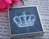 Shabby Chic Crown Soldered Charm Glass Art Pendant Necklace