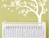 Personalized Tree and Owl Nursery Wall Decal in White with Custom Owl Accent Color