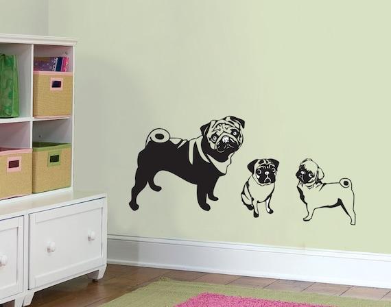Mama Pug And Two Pug Puppies Wall Decal