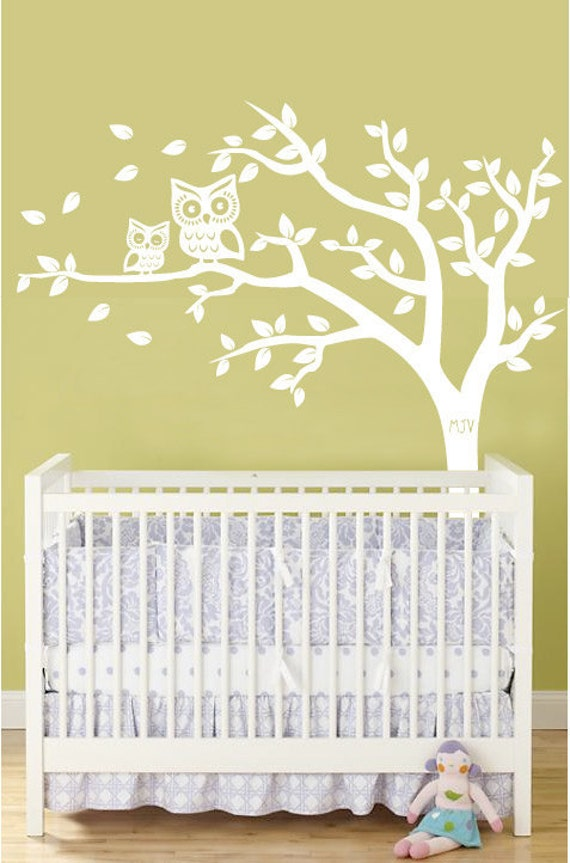personalized tree and owl nursery wall decal for baby in white