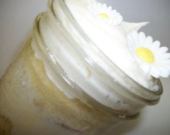 White on White Buttercream Cake Jar