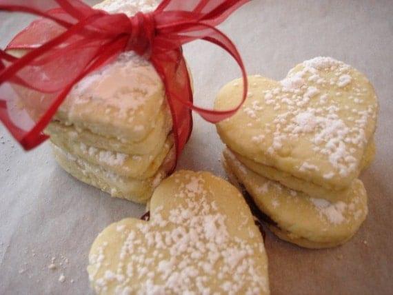 Raspberry Lemon Heart Sandwich Cookies by TheCurvyMermaid on Etsy