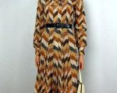 Vintage 1970 Brown, White, Black Chevron Button Front Pleated Day Dress