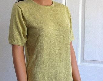 Vintage 1980s Gold Metallic Short Sleeve Sweater