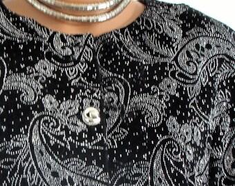 Silver Sparkel Black Velvet Evening Jacket
