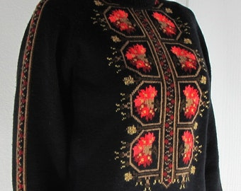Vintage 1960s Black Cross Stitched Wool Sweater