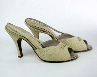 Crinkly Cream Leather 50s Slingback Peep Toe Heels
