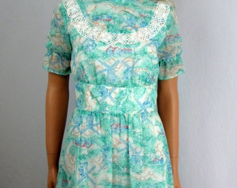 1970s Vintage Sea Green Maxi Dress Windmills and Lace