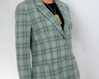 Vintage 1970s Seagreen Plaid Wool Pendleton Jacket