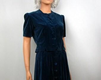 Vintage 1970s Blue Velvet Skirt and Jacket Set size small