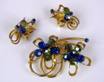 Blue and Green Aurora Borealis Crystal and Rhinestone Gold Tone Brooch and Earring Set by Hobé