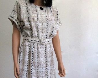 Vintage 1980s Crepe White, Tan and Black Plaid Day Dress