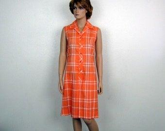 1960s Orange Plaid Never Iron Pleated Culotte Dress medium