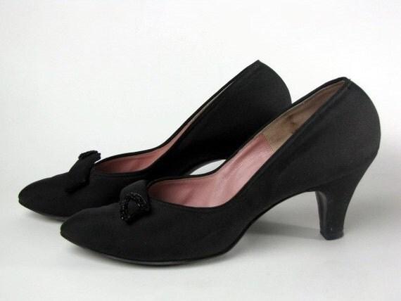 Vintage 1950s Black Rayon Fabric Leather Heels