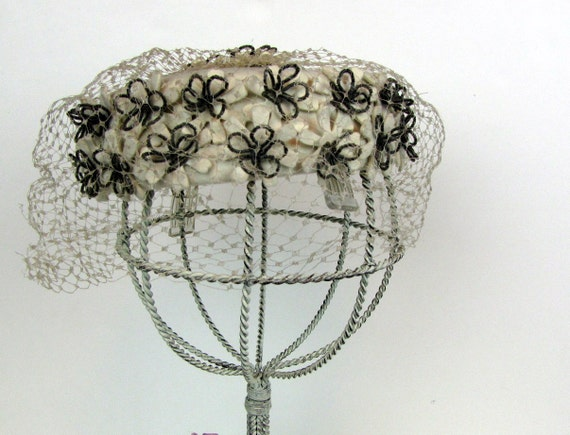Silver Beaded and Felt Flower Ivory Pill Box Hat from Marché