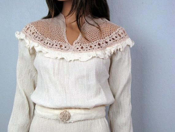 Vintage Ivory Crinkled Cotton Guaze and Crochet Yoke Dress
