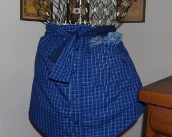 Royal Blue Plaid Men's Shirt Half Apron