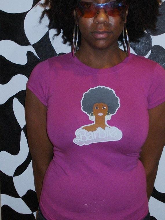 Deep Pink Black Barbie Afro Tshirt