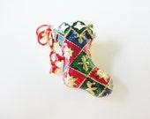 vintage Christmas stocking brooch green red white enamel and aurora borealis rhinestones
