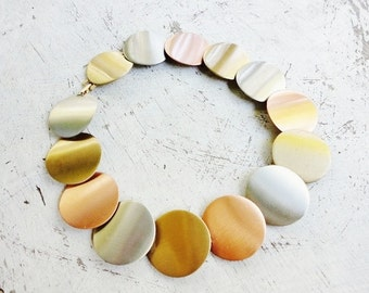 CLEARANCE  Tricolor copper silver and gold choker collar necklace with flat round disks