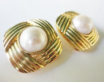 vintage MARESCO earrings clip on earrings squares and pearls retro jewelry