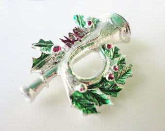 vintage jewelry silvertone NOEL Christmas pin brooch