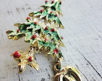 vintage pin brooch Religius Christmas tree with  Holy Mary medal gold and enamel