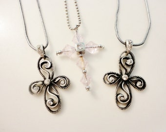 nice lot vintage necklaces religious cross crucifix pendants with chains silvertone and rhinestones