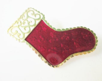 vintage NEWPRO enamel Christmas stocking  pin brooch gold and red