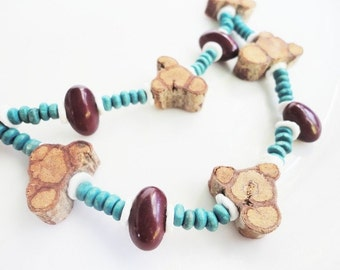 wood and beans long necklace with turquoise wood beads